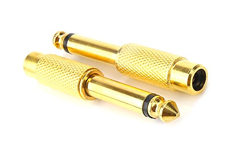 Devinal Professional 6.35mm Mono Plug Male to RCA Female Audio Adapter Converter Connector Gold Plated (2 Pack)