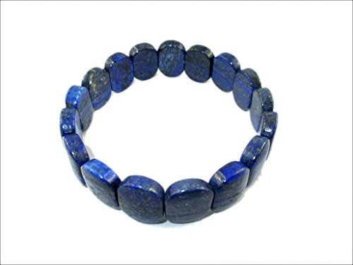 HiJet Beautiful Lapis Lazuli Oval Bead Stretch Bracelet 8'' Long Unisex Balancing Positive Energy Harmony Luck Natural Genuine Authentic Fashion Style by HiJet