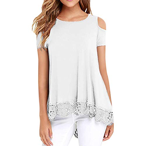 - TANGSen Women O-Neck Lace Short Sleeve Shirt Strapless Shoulder Solid Casual Print Top Loose Fashion Summer Blouse White