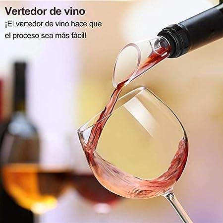 Flauno Sacacorchos Eléctrico - Profesional Automatico Abrelatas de Vino | Abridor Botellas Vino Recargable con Corta Cápsulas | Vertedor de Vino | Tapón de Vino Silicona de Vacío