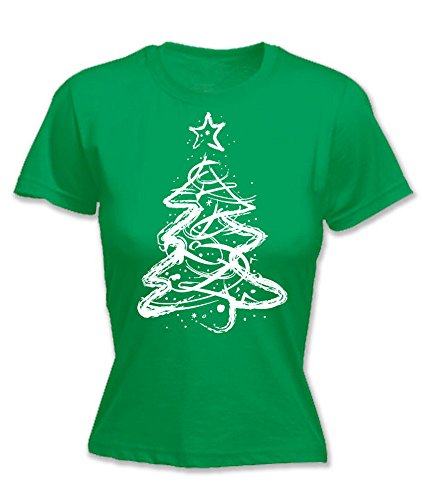 dbded8d498a Hoodiii Womens Festive Christmas T Shirt Distressed Christmas Tree