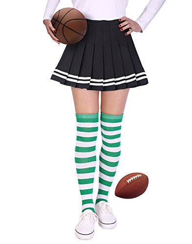HDE Womens Striped Socks School Team University Colors OTK Long Knee High socks (Green and White)