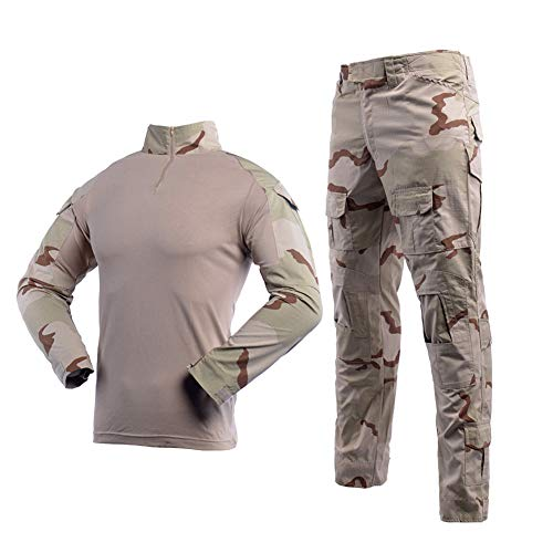 (Men's Tactical Shirt and Combat Pants Set Long Sleeve 1/4 Zip T-Shirt Trousers for Military Hunting)