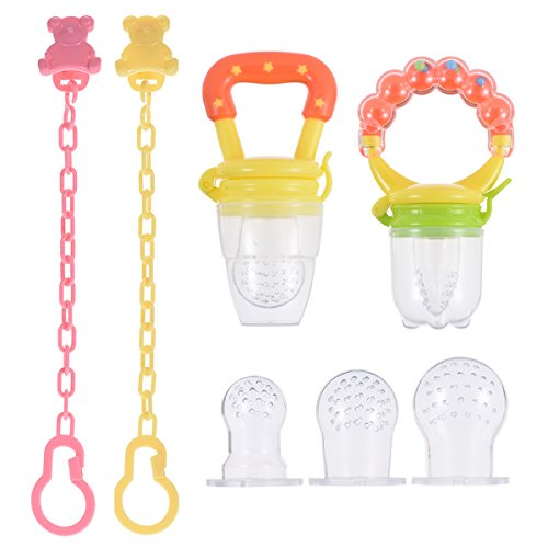PChero Fresh Food Feeder Pacifier 2 Pack + 2pcs Pacifier Clips and 3pcs Free Food Grade Silicone Sucker, Infant Fruit Teething Toy - for Baby 3 Months and Up