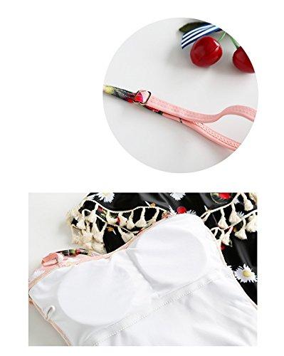 Ropa Traje De Baño De Una Pieza Para Mujer Floral Con Volantes Bajo Piece Swimsuit Trikini Monokini Rosa