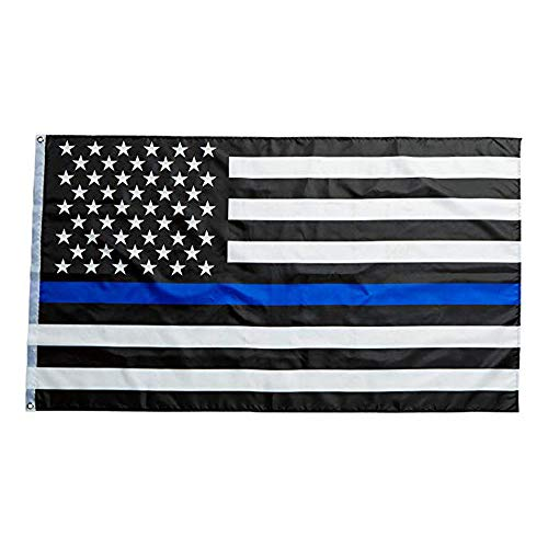 Pasiyou Thin Blue Line Flag - 3X5 Foot Black White and Blue