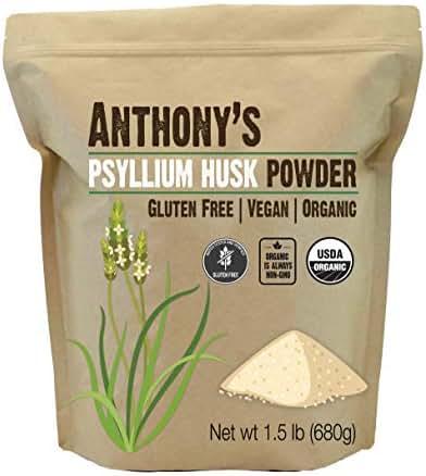 Anthony's Organic Psyllium Husk Powder, 1.5lb, Gluten Free, Non GMO, Finely Ground, Keto Friendly