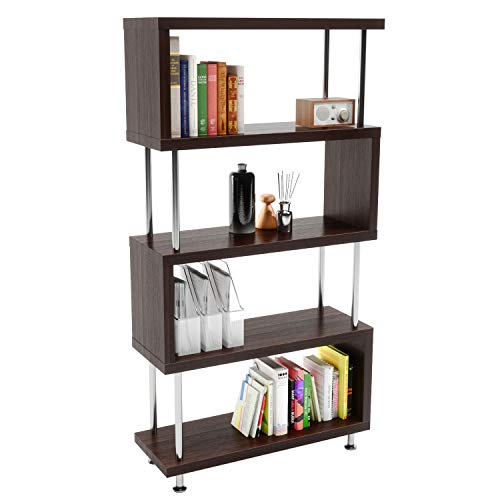 Bestier-5-Shelf-Geometric-Bookcase-S-Shaped-Hollow-Core-Board-Modern-Ladder-Bookshelf-with-Metal-Frame-Z-Shaped-Industrial-Etagere-Mid-Century-Bookcase-for-Home-Office-Living-Room-Decor-Brown
