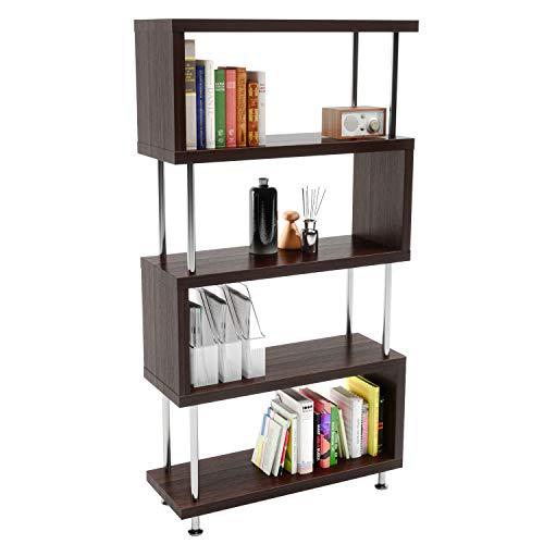 Bestier 5 Shelf Geometric Bookcase S-Shaped, Hollow-Core Board Modern Ladder Bookshelf with Metal Frame, Z Shaped…