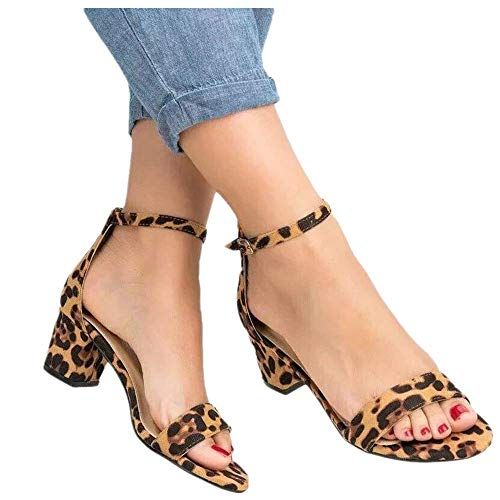 Womens Summer Sexy Leopard Print Heeled Sandals Buckle Ankle Strap Open Toe Sandals Shoes (US:5.5, Yellow) ()