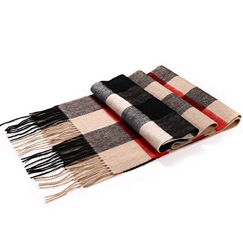 Plaid Wool Scarf for Women, 100% Pure Merino Wool Scarf with Gift Box, Fashion Winter Warm Scarf
