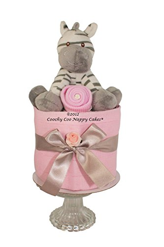 Deluxe Pink Baby girl Zebra Nappy Cake hamper gift with keepsake capsule - FREE DELIVERY Coochy Coo Nappy Cakes®