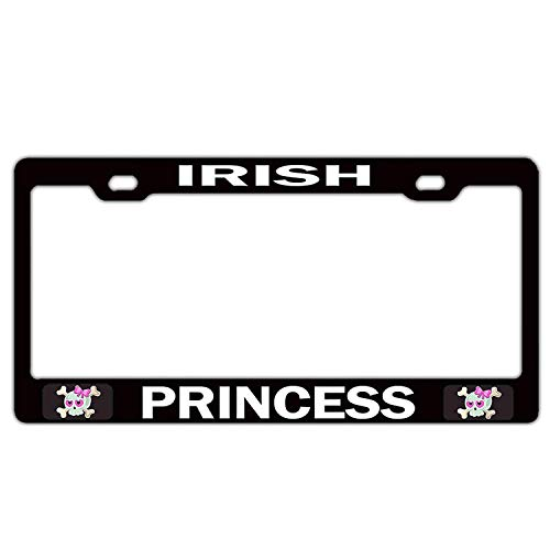 Customized Frames Irish Princess Girly License Plate Frame for Women/Girls, Humor Funny Car Plate Frame with Screw Caps - 2 Holes Auto License Plate Cover Holder for US Vehicles