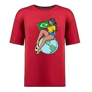 Custom Mens Cotton Short Sleeve Round Neck T-shirt,2014 Brazil FIFA World Cup Soccer Girls red