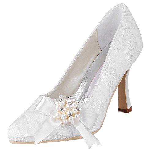 9cm Ivory Heel Heel Round Womens Lace Toe Bridal MZ563 Broknot High Minishion Pumps Beaded a7PZxZnw