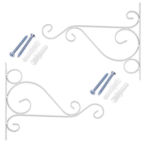(Cosmos Pack of 2 Iron Plant Hanging Hooks Wall Brackets for Planter Bird Feeder Lanterns Wind Chimes with Screws (White))