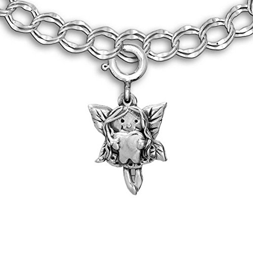 [Sterling Silver Tooth Fairy Charm for charm bracelet by The Magic Zoo] (Tooth Fairy Costumes)