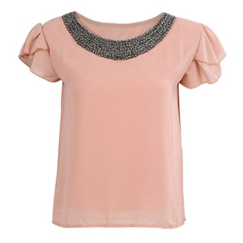 SODIAL(R) fashion women chiffon casual vintage Blouses Beading O-neck Pullover shirts Nude pink M