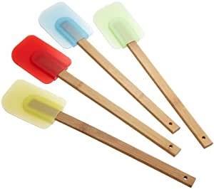 Good Cook Set of 4 Silicone Spatulas with Bamboo Handles