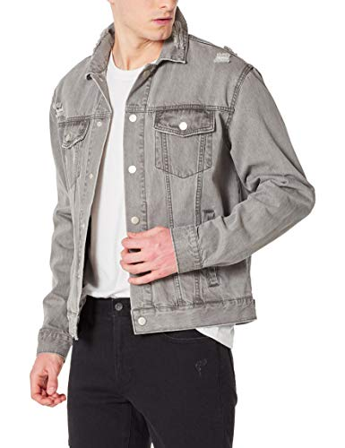 DANNE MORA Men's Denim Jacket Classic Casual Ripped Distressed Collar Button Down Grey Jean Jacket