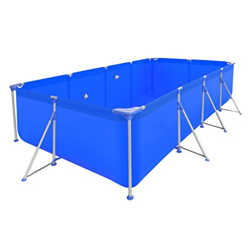 Festnight Above Ground Swimming Pool Rectangular, with Steel Frame, 12' 11