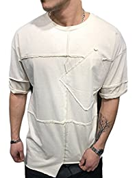 Men Summer Short Sleeve T-Shirts Cotton Loose O-Neck Patchwork Blouse Shirts Tops with Pocket Multicolor