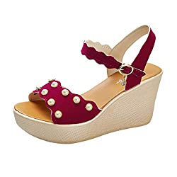 Women S Platform Wedge Sandals Summer Pearl Muffin Bottom Sandals Increased Fashion Open Toe Sandals Meeya Red