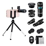 Cell Phone Camera Lens Kit, GLISTENY 6 in 1 HD 12X Zoom Telephoto Lens+ Fisheye+ Wide Angle+ Macro Lens+ Retractable Tripod+ Remote Shutter for IPhoneX, 8, 7, 6s, 6s Plus& Samsung &Smartphone