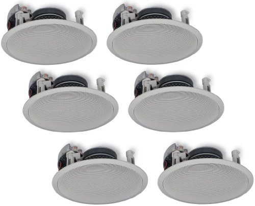 Yamaha In-Ceiling 2-Way 120 watts Natural Sound Custom Easy-to-install Speakers (Set of 6) with 1