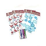 "Christmas Treat Bakery Bags Bundle - 32 Pack of 11"" x 5"" x 3"" Santa and Snowflake Bags + 600 Pieces of Metallic twist Ties (6 Colors)"