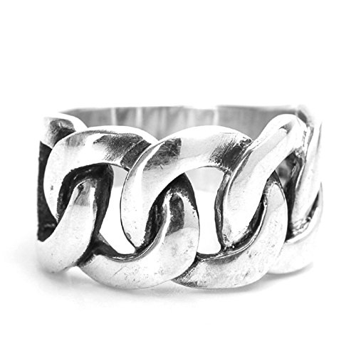 Anazoz S925 Sterling Silver Retro Style Curb Link Men Biker Rings Size 10 by AnaZoz