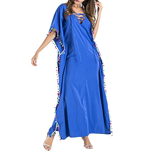 Habit Tendance Sensuel de Blouse Robe V Ample Bleu Jolisson Extrieur de Manches Courtes Col Tunique Plage Bikini Vacance Bohmienne TxCwqR7a