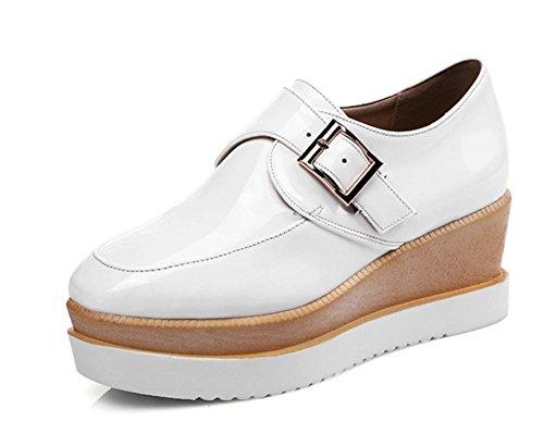 Frau Frühling Schuhe tiefen Mundschuh Steigung Schnalle mit schweren Boden Schuhen lässig Muffin Schuhe Schuhe white
