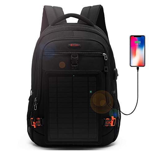 DTBG Solar Backpack 15.6 Inches Laptop Backpack Anti-Theft Business Bag Nylon Commuter Travel Backpack Casual Rucksack with Removable 5 Watt Solar Panel Charge for iPad Smart Phone Men -
