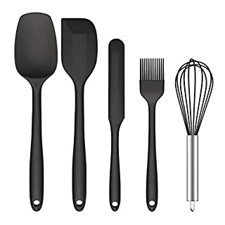 Silicone Spatula Set, Ouddy 5 Pieces Kitchen Utensils Set for Baking Cooking & Mixing, High Heat Resistant Food Grade Silicone Rubber Spatula Non-Stick Kitchen Spatula Dishwasher Safe
