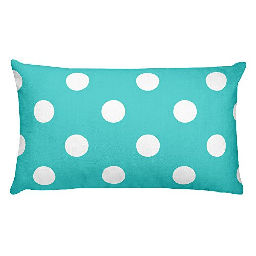 Marked For You, Decorative Throw Pillow, Rectangular Accent Pillow, Print shown on both sides, Blue and White, Polka Dots, 18 x 18 inch (Soleil Dot)