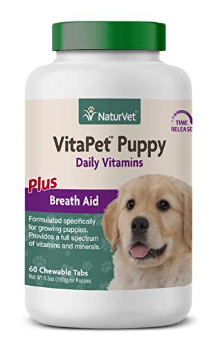 NaturVet - VitaPet Puppy Daily Vitamins for Dogs - Plus Breath Aid - Specifically Formulated to Provide Puppies with Essential Vitamins, Minerals, Amino Acids & Fatty Acids (60 Time Release Tablets)
