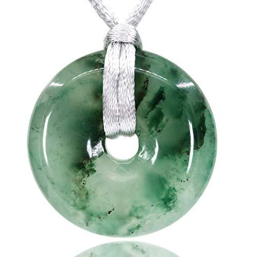 (AMANDASTONES Natural Green Chacedony Gemstones Peace Donut 30M Beads Adjustable Braided Macrame Tassels Pendant Unisex)