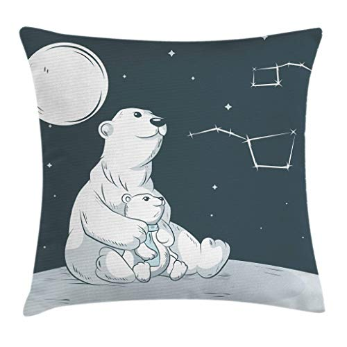 (Ambesonne Starry Night Throw Pillow Cushion Cover, Mother Polar Bear Her Son Looking Stars Constellation Illustration, Decorative Square Accent Pillow Case, 18 X 18 Inches, White Blue Vermilion)
