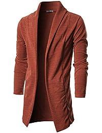 Mens Long Sleeve Draped Open Front Shawl Collar Longline Cardigan