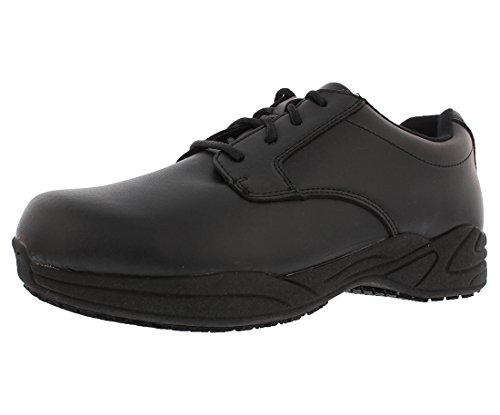 Grabbers Men's Ava Plain Toe SR Oxfords, Black Leather, Rubber, 11 W