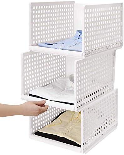 LHY SAVE Organizador Armario, Caja Organizadora De Almacenamiento, Apilable, Plástico, Desmontable, para Armarios, Dormitorios, Cocinas Y Baños,3 Racks,Blanco: Amazon.es: Hogar