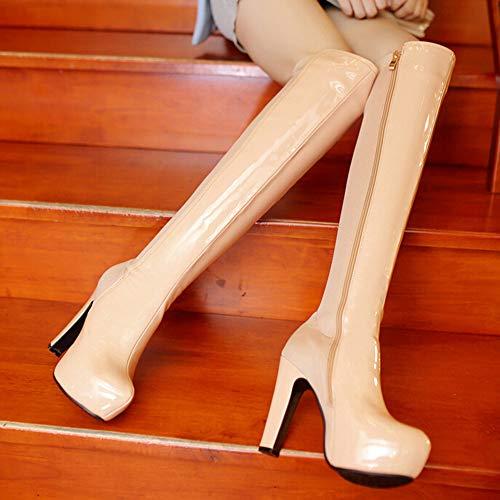 Lady Beige Reißverschluss Heel HARRYSTORE Kniestiefel Lacquerade Nachtclub Sexy Seitlichem Wasserdichte Tisch High nqTwxTRzA
