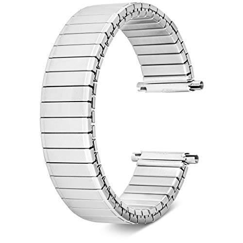 United Watch Bands Classic Style Expansion Stretch Stainless Steel Watch Band, Choice of Colors, Straight and Expandable Ends Universal Fits All Watch Brands with Lug Openings from 16MM to 22MM