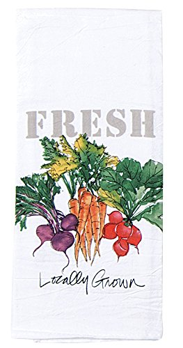 Fresh Local Food Farmers Market Tea Dish Towel - Flour Sack Cotton