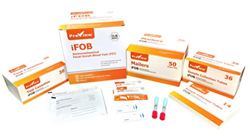 Preview Diagnostics F.I.T/Fecal Occult Blood Test Kit; CLIA Waived; PRE-FIT-KIT; 30 Tests, 50 Collection Tubes, 50 Mailers