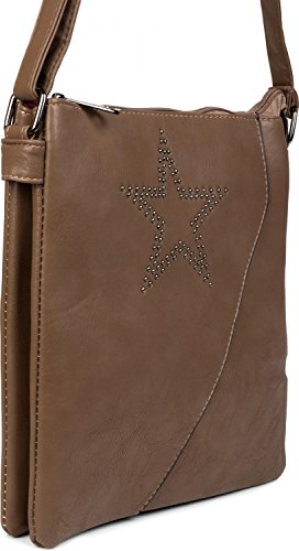 styleBREAKER da effetto donna a scuro con spalla borsa 02012105 Fango borsa sovrapposto colore di stella a borsa Marrone e a bag messenger tracolla mano borchie rqw4xvUHr