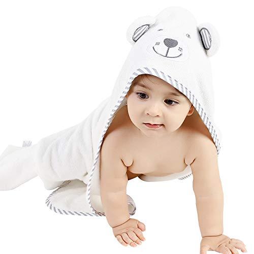 Organic Baby Bath Towel and washcloth set –Organic Bamboo Baby Hooded Towel-Baby Towels-Baby Beach Towel-Baby Girl Bath Towel-Baby Towels for Boys-Toddler Towels-Cotton Towel-Newborn Robe- white/blu