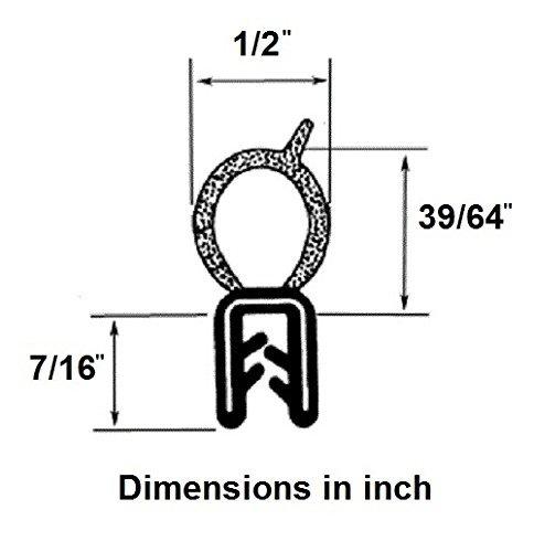Vertical Bulb Trim Seal Bulb Diameter: 0.5'' Grip range: 0.039'' to 0.14'' | Trunk, boot, lid, hood, hatch rubber (33 Feet) by Seal Rubber (Image #2)
