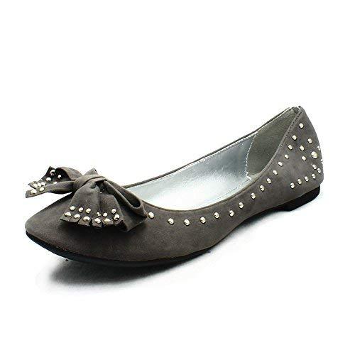 tachonados Señoras suedette bombas Grey planos zapatos qxzxpwn1g